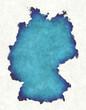 Leinwandbild Motiv Germany map with drawn lines and blue watercolor illustration