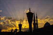 The Beautiful Shot Of Masjid Al Nabawi Along With The Green Dome And The White Minarets