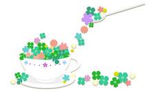 クローバーと小花をティーカップに盛ったイラスト003|Illustration Of Clover And Florets In A Tea Cup 003