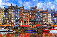 Colorful Bulding And Waterfront Of Honfleur Harbor In Normandy, France. Sketch Illustration.