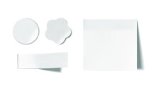 Vector Set Of White Paper Pieces Isolated On White Background, Note Paper, Sketchbook Paper, Stickers Set.