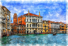 La Serenissima. Palace Balbi. Grand Canal. Venice. Italy. Color Sketch Illustration.