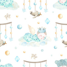 Watercolor Hand Painted Newborn Boy Seamless Pattern With Cute Sleeping Baby, Bow, Clouds. Design For Baby Shower, Textile, Nursery Decor, Children Decoration