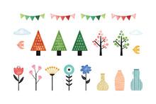 お花や木々の北欧風パーツセット 水彩ベクターイラスト