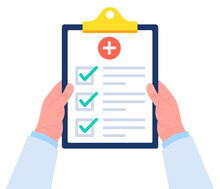 Doctor Holds A Clipboard With Both Hands. Checklist For Medical Report On Clipboard. Vector.