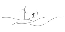 Wind Energy In Continuous Line Art Drawing Style. Hilly Landscape With Wind Turbines Producing Electricity. Renewable Source Of Power. Black Linear Design Isolated On White Background
