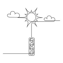 Solar Energy In Continuous Line Art Drawing Style. Abstract Scene Of Sun Connected To Power Strip. Renewable Energy Sources. Black Linear Design Isolated On White Background. Vector Illustration