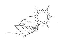 Solar Energy In Continuous Line Art Drawing Style. Solar Panels Facing The Sun To Collect Heat By Absorbing Sunlight. Black Linear Design Isolated On White Background. Vector Illustration