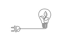 Green Energy Icon In Continuous Line Art Drawing Style. Plant Inside Light Bulb With Power Plug As A Symbol Of Environmental Friendly Sources Of Energy Black Linear Design Isolated On White Background