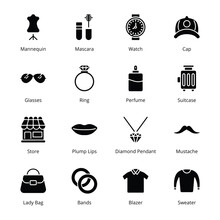 Clothes And Accessories Glyph Icons - Solid, Vectors
