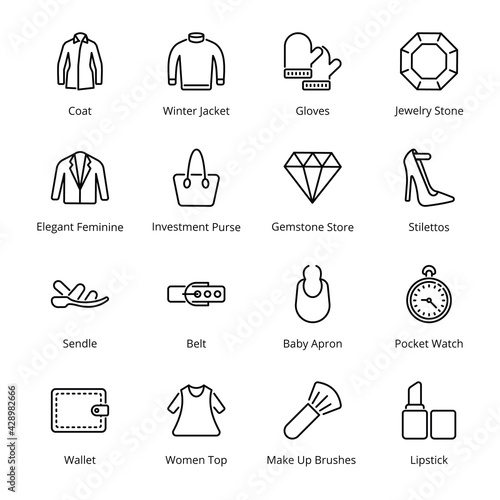 Fototapeta Clothes and Accessories Outline Icons - Stroked, Vectors
