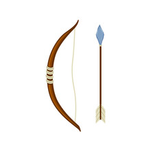 Ancient Stone And Wood Bow And Arrow Vector Illustration In A Cartoon Flat Style Isolated On White Background.