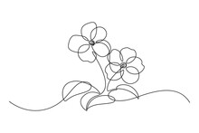 African Violet In Continuous Line Art Drawing Style. Saintpaulia Flowering Plant Black Linear Sketch Isolated On White Background. Vector Illustration
