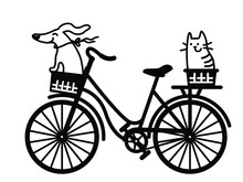 Cute Dog And Cat Drive Vintage Bicycle. Vector Color Cartoons  Illustration Of Old-style Bike Silhouette With Dog, Cat, Flowers And Ballons For Print Or Design Isolated On White
