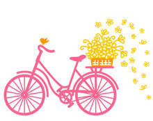 City Bicycle Silhouette Full Of Yellow Flowers In Wicker Basket And Bird. Vector Graphic Illustration Of Romantic Bike Isolated On White Background
