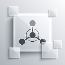Grey Molecule Icon Isolated On Grey Background. Structure Of Molecules In Chemistry, Science Teachers Innovative Educational Poster. Square Glass Panels. Vector