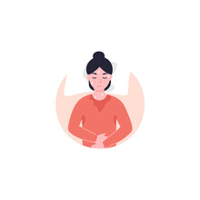 Night Sweats Or Hot Flashes Ison. Disease Symptom. Flat Vector Cartoon Illustration Icon.