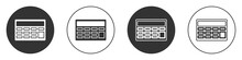 Black Calculator Icon Isolated On White Background. Accounting Symbol. Business Calculations Mathematics Education And Finance. Circle Button. Vector