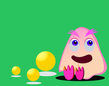 Cute Cartoon Character Design With Yellow Ball Element. Seamless Style, Isolated Pattern On Green Background
