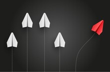 Individuality Concept. Individual And Unique Leader Red Paper Plane Flies To The Side. Vector