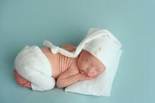 Portrait Detail Newborn Sleeping Baby On Blanket