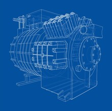 Air Conditioning Compressor. Vector
