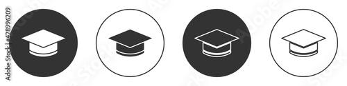 Fototapeta Black Graduation cap icon isolated on white background. Graduation hat with tassel icon. Circle button. Vector obraz