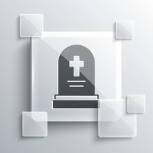 Grey Grave With Tombstone Icon Isolated On Grey Background. Square Glass Panels. Vector