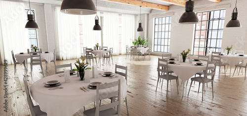 Fotografie, Obraz Wedding or restaurant room in bright loft-style with tables, white place setting