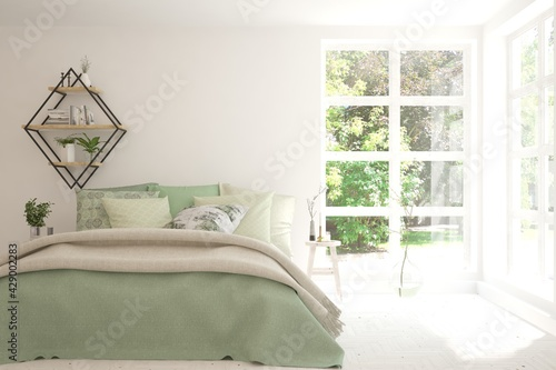 Fototapeta Stylish bedroom in white color with summer landscape in window. Scandinavian interior design. 3D illustration obraz