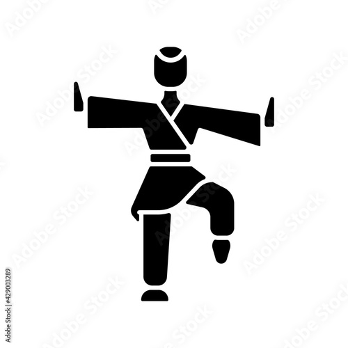 Fotografie, Obraz Kung Fu black glyph icon