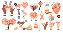 Charity, Donation And Social Care Collection Elements Tiny Person Items Set. Humanitarian Support, Solidarity Campaign And Philanthropy With Foundation Raise Isolated Symbols Vector Illustration.