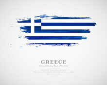Happy Independence Day Of Greece With Artistic Watercolor Country Flag Background