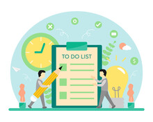 2 Men Consulting Each Other What They Want To Checklist In To Do List Report. To Do List Concept Vector