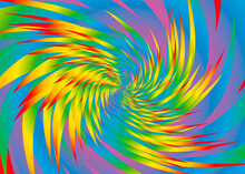 Rainbow Spectrum Colored Spiral Pattern, Wild Psychedelic Powerful Swirling Feathers, Colorful Spiny Background. Vector Illustration.