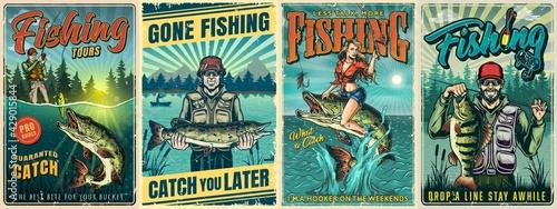 Fototapeta Fishing vintage posters obraz
