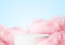 Blue Background With A Product Podium Surrounded By Pink Clouds. Smoke, Fog, Steam Background. Vector Illustration