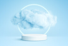 Realistic White Fluffy Clouds In Product Podium With Neon Circle On Blue Background. Cloud Sky Background For Your Design. Vector Illustration