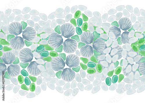 Tapety Eklektyczne  recznie-rysowane-akwarela-bezszwowe-obramowanie-wykonane-z-muszli-i-szkla-morskiego-imitujace-kwiaty-w-jasnoniebieskich-i-zielonych-kolorach-na-bialym-tle-marine-projekt-plazy-dekoracja-lazienki-druk-plytek