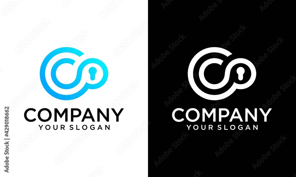 Fotografie, Obraz Cyber Security and defender line Letter C logo icon design template elements with dot in middle