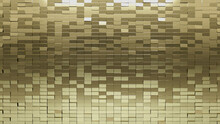 Gold, 3D Wall Background With Tiles. Polished, Tile Wallpaper With Luxurious, Rectangle Blocks. 3D Render