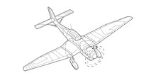 Line Art Adult Military Aircraft Coloring Page For Book And Drawing. Airplane. Vector Illustration. Vehicle. Graphic Element. Plane. Black Contour Sketch Illustrate Isolated On White Background.