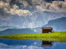 Lake Reflections At Alpe Di Siusi Dolomites, Val Gardena, South Tyrol, Italy
