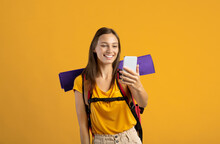 Happy Woman With Backpack Holding Mobile Phone, Having Video Call