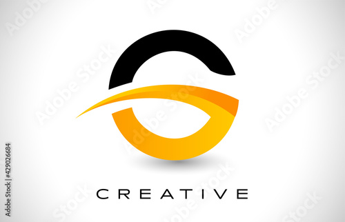 Foto G Logo Design Vector with Creative Modern Design Shape and Yellow Black Colors