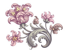 Tulip Peony Flower Vintage Pink Red Baroque Victorian Frame Border Floral Ornament Scroll Engraved Retro Pattern Tattoo Vector