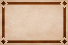 Tan Textured Parchment Paper Background With Brown Ribbon Border Trim And Diamonds In Corners.