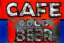 Old Roadside Cold Beer Sign Vintage Americana Cafe