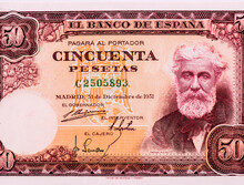 Santiago Rusinol Portrait From Spain 50 Peseta 1951 Banknotes.