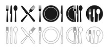 Cutlery Icon. Set Of Fork, Knife, Spoon. Tableware Icon. Logotype Menu. Set In Flat Style. Silhouette Of Cutlery. Vector